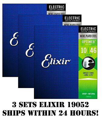 *3 Sets Elixir 19052 Optiweb Coated Electric Guitar Strings Light - 10-46* • 26.50£