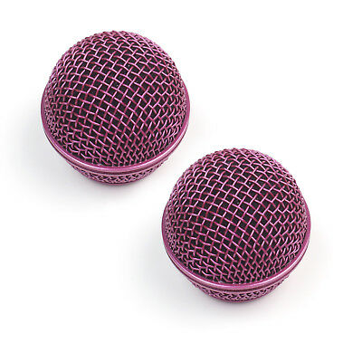 2x Mesh Microphone Grille For Shure SM58 565SD LC Microphone ,Pink