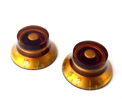 (2) LEFTY Amber Bell Knobs for Gibson® Guitar/Bass w/CTS Pots PK-0140-L22