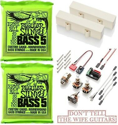 Emg J5 Set Ivory 5 String Active Jazz Bass Pickups ( 2 Ernie Ball Bass Strings ) • 144.63£