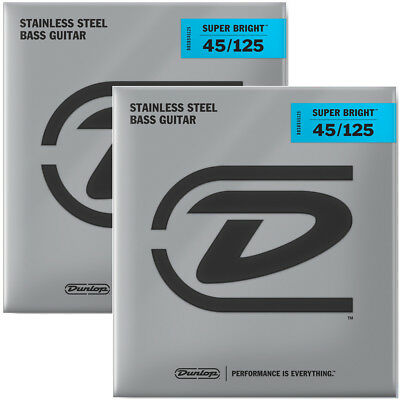 2 Sets Dunlop Super Bright Stainless Steel 5-String Bass Strings, Medium 45-125 • 31.59£
