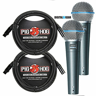 Shure BETA58A Pair Handheld Dynamic High Output Microphone W/ Pig Hog Cables • 244.19£