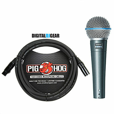 Shure BETA58A Handheld Dynamic High Output Vocal Microphone W/ Pig Hog Cable • 121.74£