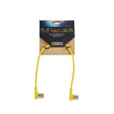 RockBoard Flat MIDI Patch Cable, 12 Inches, Yellow, Right-Angle to Right-Angle