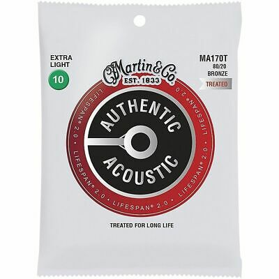 Martin Authentic Acoustic Lifespan Guitar Strings 80/20 Bronze  MA170T .010-.047