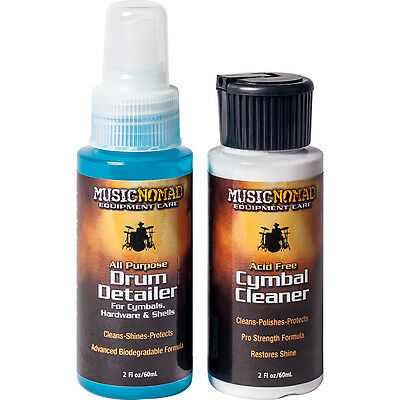 Drums MusicNomad Drum Detailer Cymbal Cleaner Combo Trial / Travel Pack NEW • 6.89£