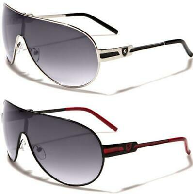 Mens Pilot Wrap Metal Sunglasses Shield Large Big Ladies Designer Khan Uv400 • 11.89£