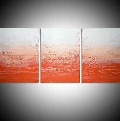 Orange Crush Large Painting Canvas Triptych Artist Abstract 3 Panel Art Vibrant  • 139£