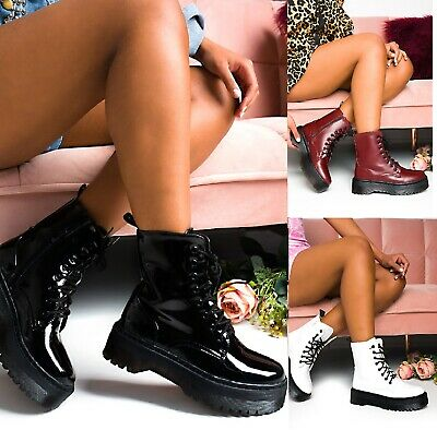Ladies Womens Ankle Lace Up Platform Chunky Goth Punk Zip Icon Retro Shoes Boots • 20.95£