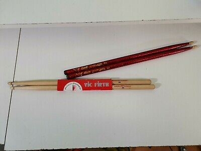 Vic Firth 5A American Classic Hickory Drum Sticks Brand New Plus Used Vater Red • 8£