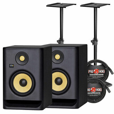 "KRK RP5G4 ROKIT 5 G4 5"" 2-Way Active Studio Monitor Pair W/ Stands & Cables • 306.49£"