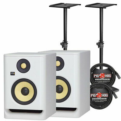"KRK RP5G4WN ROKIT 5 G4 5"" White Active Studio Monitor Pair W/ Stands & Cables • 306.49£"