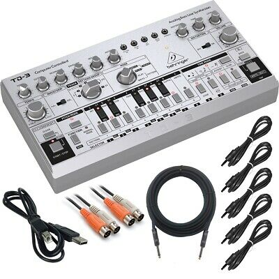 Behringer TD-3-SR Analog Bass Line Synthesizer - Silver COMPLETE CABLE KIT • 131.16£