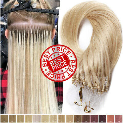 THICK 200S Micro Loop Ring 100% Remy Human Hair Extensions Nano Beads Blonde 1G • 85.63£
