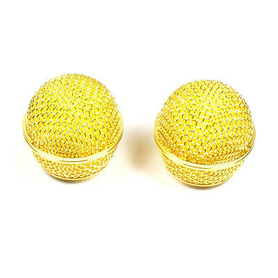 (E21) 2x Mesh Microphone Grille Fits Shure SM58 565SD-LC Microphone ,Gold Plated • 9.83£