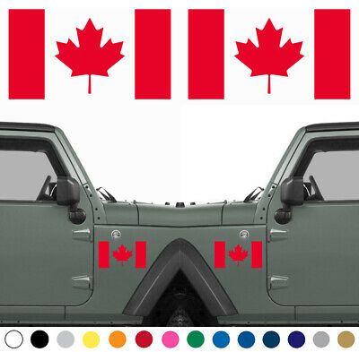 Set Of 2 Canadian Flag LEFT RIGHT Side Vinyl Sticker Decal MANY SIZES COLORS • 36.73£