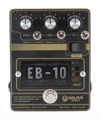 Walrus Audio EB-10 Preamp//EQ//Boost Pedal, Black • 172.25£