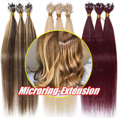 300 Strands THICK Russian Remy Human Hair Extensions Micro Loop Ring Beads Ombré • 118.04£