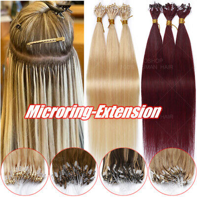 THICK 200 Strands 100% Remy Human Hair Loop Micro Ring Nano Bead Link Extensions • 118.04£