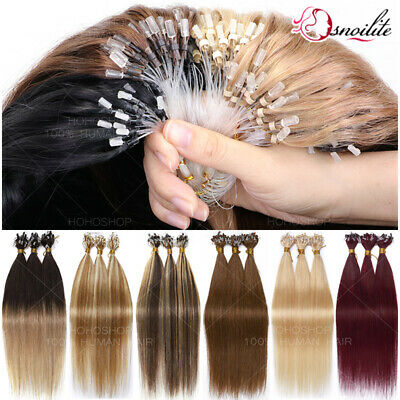 200S THICK Micro Loop Ring Beads Remy Human Hair Extensions Full Head Ombre 1G/S • 118.04£