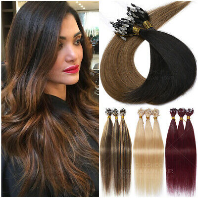 200S Micro Loop Ring Pre Bonded NANO I Tip 100% Remy Human Hair Extensions Ombré • 100.83£