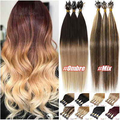 CLEARANCE THICK 100% Remy Human Hair Extensions Micro Loop Nano Ring Pre Bonded • 100.83£