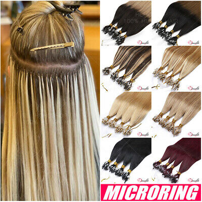 Micro Ring Beads Loop 100% Real Remy Human Hair Extensions Link Beads Full Head • 100.83£