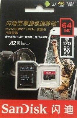 SanDisk Extreme  Pro 170MBs SDXC Memory Card - 64GB For Cameras  Video V30 • 17.99£