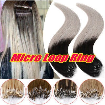200S THICK Micro Loop Ring Beads Remy Human Hair Extensions Full Head Grey Ombre • 118.04£