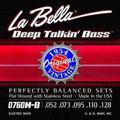 La Bella 0760M-B Deep Talkin Bass Strings 5-String Stainless Steel Heavy, 52-128 • 33.25£