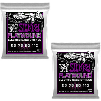 2-Pack Of Ernie Ball 2811 Power Slinky Flatwound Electric Bass Strings, 55-110 • 48.10£