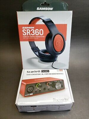 Focusrite Scarlett Solo 3rd Gen USB Audio Interface Bundle With Headphones SR360 • 106.79£