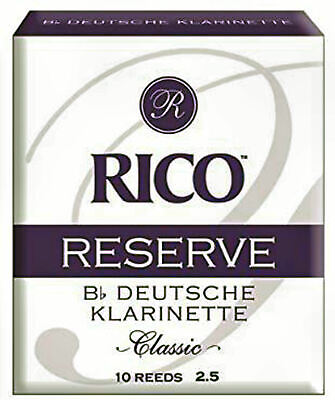Rico 2.5 Strength Reserve Classic German Reeds for Bb Clarinet (Pack of 10)
