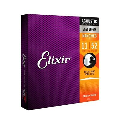 Elixir E11027 80/20 Bronze Acoustic Guitar Strings Nanoweb Cus Light 11-52 • 15.75£