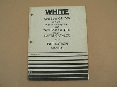White Yard Boss GT-1000 Owners Manual Parts Catalog List Instruction 1976 • 38.18£