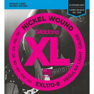 D'ADDARIO EXL170-8 Nickel Would 018-100 8-String Bass Strings - Long Scale • 33.50£
