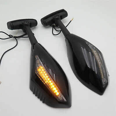 LED Turn Signal Integrated Mirror For Suzuki Hayabusa Honda Yamaha Gloss Black • 21.79£