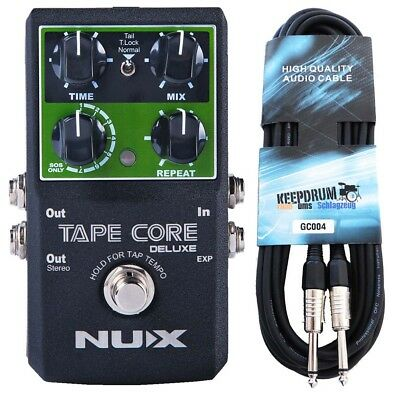 Nux Tape Core Deluxe Effects Unit Delay Pedal+Keepdrum Guitar Cable 6m • 82.80£