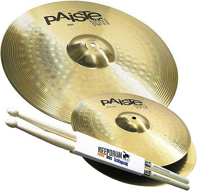 Paiste 101 Cymbals Set 14 Hi-Hat 20 Ride Cymbal Set + Keepdrum Drumsticks • 121.02£