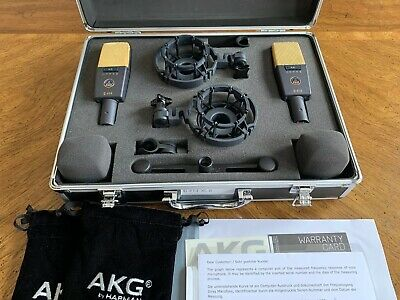 AKG C414 XLII Stereo Matched Pair Condenser Microphone Set • 1,264.38£