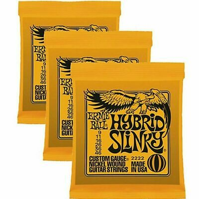3 X Ernie Ball Hybrid Slinky Electric Guitar Strings 9-46. 3 Packs P/n 2222 • 18.95£