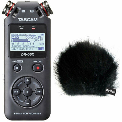 Tascam DR-05X Recorder Dictaphone + Keepdrum Fur Wind Protector • 107.05£