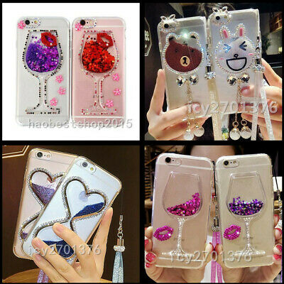 Bling Glitter Hourglass Soft Phone Case With 2 Glass Screen Protectors & Strap V • 9.99£