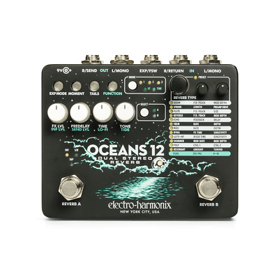 Electro Harmonix Oceans 12 Dual Stereo Reverb Effects Pedal