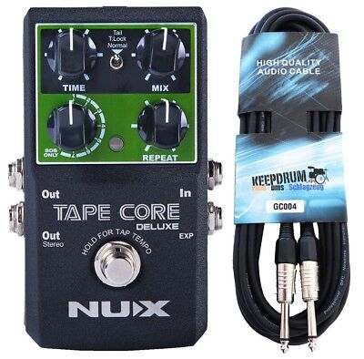 Nux Tape Core Deluxe Effects Unit Delay Pedal+Keepdrum Guitar Cable 6m • 84.41£
