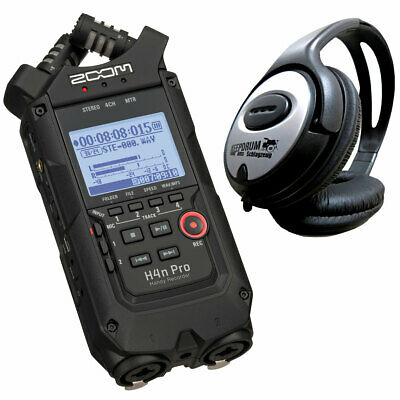 Zoom H4n Pro Black Mobile Phone Recorder + Keepdrum Headphones • 250.48£