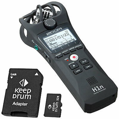 Zoom H1n Recorder Dictaphone + Keepdrum Micro SDHC Memory Card 32 GB • 109.98£