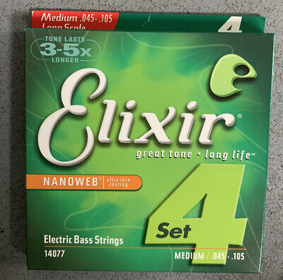 1 Set Of Elixir Bass Strings Nanoweb Coated 45-105 Long Scale  • 30£