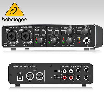 Behringer U-PHORIA UMC204HD Audio Interface Pre Amplifier USB2.0 2-in 4-Out JP • 136.57£