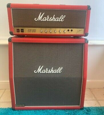Marshall JCM800 100w 2203 Head & Cab (1986) in Marshall Red
